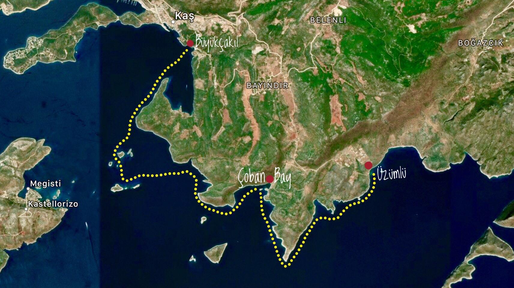 Işık Kıyısı Deniz Kanosu Tur Rotası