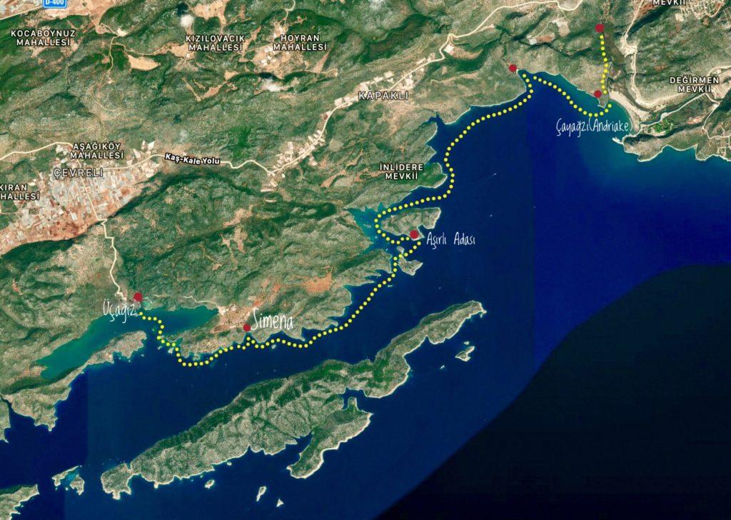 Kekova Körfezi Deniz Kanosu Tur Rotası